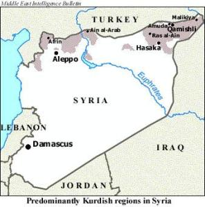 Kurdish population centres in Syria